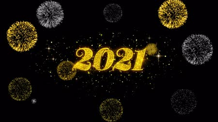 Поздравляю : Happy New Year 2021 Golden Greeting Text Appearance Blinking Particles with Golden Fireworks Display 4K for Greeting card, Celebration, Invitation, calendar, Gift, Events, Message, Holiday, Wishes .
