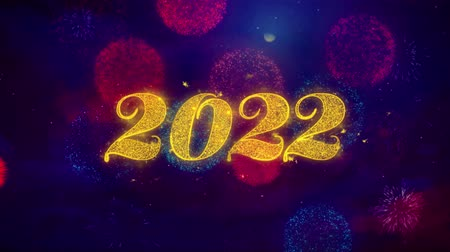 janeiro : Happy New Year 2022 Greeting Text with Particles and Sparks Colored Bokeh Fireworks Display 4K. for Greeting card, Celebration, Party Invitation, calendar, Gift, Events, Message, Holiday, Wishes.