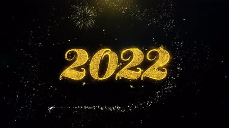 ano novo chinês : Happy New Year 2022 Written Gold Glitter Particles Spark Exploding Fireworks Display 4K . Greeting card, Celebration, Party Invitation, calendar, Gift, Events, Message, Holiday, Wishes Festival