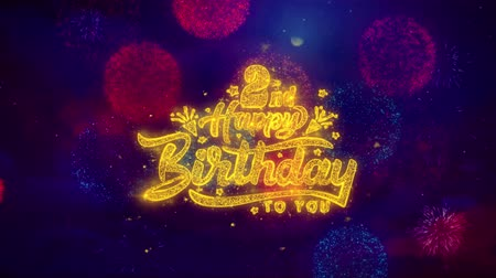 dilek : 2nd Happy Birthday Greeting Text with Particles and Sparks Colored Bokeh Fireworks Display 4K. for Greeting card, Celebration, Party Invitation, calendar, Gift, Events, Message, Holiday, Wishes.