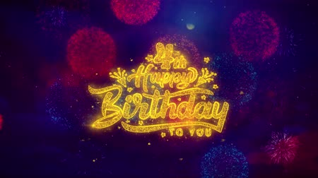 慶典 : 4th Happy Birthday Greeting Text with Particles and Sparks Colored Bokeh Fireworks Display 4K. for Greeting card, Celebration, Party Invitation, calendar, Gift, Events, Message, Holiday, Wishes.