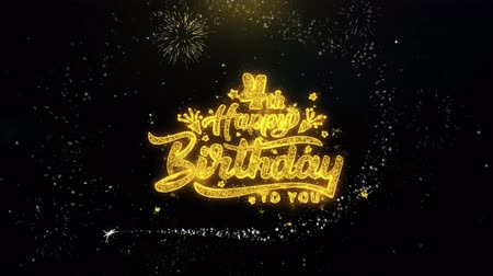 si přeje : 4th Happy Birthday Written Gold Glitter Particles Spark Exploding Fireworks Display 4K . Greeting card, Celebration, Party Invitation, calendar, Gift, Events, Message, Holiday, Wishes Festival