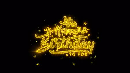 慶典 : 4th Happy Birthday Typography Written with Golden Particles Sparks Fireworks Display 4K. Greeting card, Celebration, Party Invitation, calendar, Gift, Events, Message, Holiday, Wishes Festival