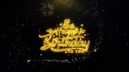 bóia : 5th Happy Birthday Written Gold Glitter Particles Spark Exploding Fireworks Display 4K . Greeting card, Celebration, Party Invitation, calendar, Gift, Events, Message, Holiday, Wishes Festival