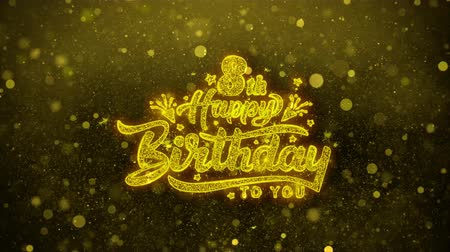 bóia : 8th Happy Birthday Greetings card Abstract Blinking Golden Sparkles Glitter Firework Particle Looped Background. Gift, card, Invitation, Celebration, Events, Message, Holiday, Festival