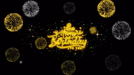 th : 8th Happy Birthday Golden Greeting Text Appearance Blinking Particles with Golden Fireworks Display 4K for Greeting card, Celebration, Invitation, calendar, Gift, Events, Message, Holiday, Wishes . Stock Footage