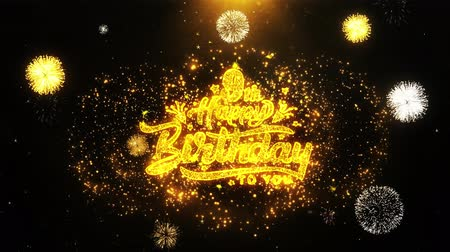 obrigado : 9th Happy Birthday Text Sparks Particles Reveal from Golden Firework Display explosion 4K. Greeting card, Celebration, Party Invitation, calendar, Gift, Events, Message, Holiday, Wishes Festival