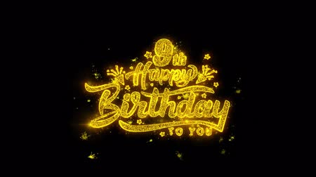 si přeje : 9th Happy Birthday Typography Written with Golden Particles Sparks Fireworks Display 4K. Greeting card, Celebration, Party Invitation, calendar, Gift, Events, Message, Holiday, Wishes Festival Dostupné videozáznamy