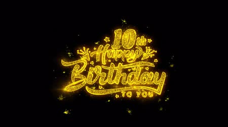 obrigado : 10th Happy Birthday Typography Written with Golden Particles Sparks Fireworks Display 4K. Greeting card, Celebration, Party Invitation, calendar, Gift, Events, Message, Holiday, Wishes Festival