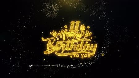 obrigado : 11th Happy Birthday Written Gold Glitter Particles Spark Exploding Fireworks Display 4K . Greeting card, Celebration, Party Invitation, calendar, Gift, Events, Message, Holiday, Wishes Festival