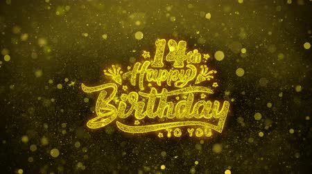 慶典 : 14th Happy Birthday Greetings card Abstract Blinking Golden Sparkles Glitter Firework Particle Looped Background. Gift, card, Invitation, Celebration, Events, Message, Holiday, Festival 影像素材