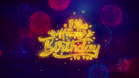 rocznica : 14th Happy Birthday Greeting Text with Particles and Sparks Colored Bokeh Fireworks Display 4K. for Greeting card, Celebration, Party Invitation, calendar, Gift, Events, Message, Holiday, Wishes.