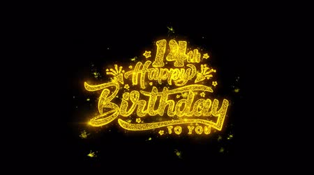 th : 14th Happy Birthday Typography Written with Golden Particles Sparks Fireworks Display 4K. Greeting card, Celebration, Party Invitation, calendar, Gift, Events, Message, Holiday, Wishes Festival