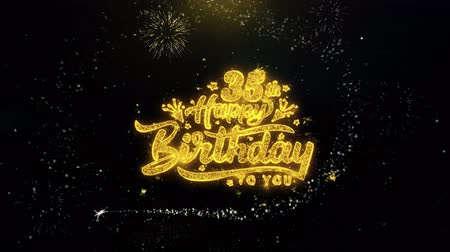th : 35th Happy Birthday Written Gold Glitter Particles Spark Exploding Fireworks Display 4K . Greeting card, Celebration, Party Invitation, calendar, Gift, Events, Message, Holiday, Wishes Festival
