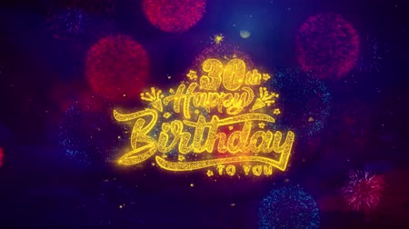 rocznica : 30th Happy Birthday Greeting Text with Particles and Sparks Colored Bokeh Fireworks Display 4K. for Greeting card, Celebration, Party Invitation, calendar, Gift, Events, Message, Holiday, Wishes.