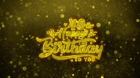 čtyřicet : 40th Happy Birthday Greetings card Abstract Blinking Golden Sparkles Glitter Firework Particle Looped Background. Gift, card, Invitation, Celebration, Events, Message, Holiday, Festival