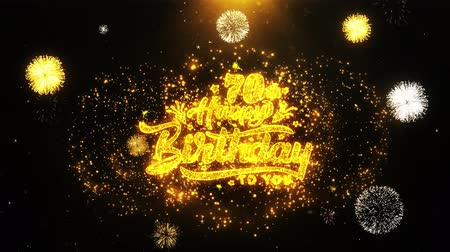 obrigado : 70th Happy Birthday Text Sparks Particles Reveal from Golden Firework Display explosion 4K. Greeting card, Celebration, Party Invitation, calendar, Gift, Events, Message, Holiday, Wishes Festival
