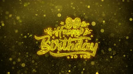 出生前の : 90th Happy Birthday Greetings card Abstract Blinking Golden Sparkles Glitter Firework Particle Looped Background. Gift, card, Invitation, Celebration, Events, Message, Holiday, Festival