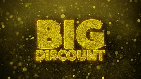 celkový : Big Discount Greetings card Abstract Blinking Golden Sparkles Glitter Firework Particle Looped Background. Gift, card, Invitation, Celebration, Events, Message, Holiday, Festival