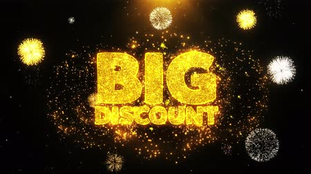 promocional : Big Discount Text Sparks Particles Reveal from Golden Firework Display explosion 4K. Greeting card, Celebration, Party Invitation, calendar, Gift, Events, Message, Holiday, Wishes Festival Vídeos