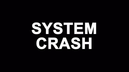 ファイアウォール : SYSTEM CRASH Glitch Text Abstract Vintage Twitched 4K Loop Motion Animation . Black Old Retro Digital TV Glitch Effect Including Twitch, Noise, VHS, Distortion.