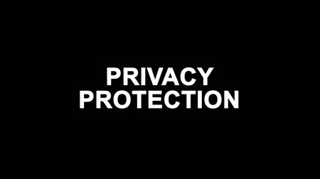 privacy : Privacy Protection Glitch Text Abstract Vintage Twitched 4K Loop Motion Animation . Black Old Retro Digital TV Glitch Effect Including Twitch, Noise, VHS, Distortion. Stock Footage