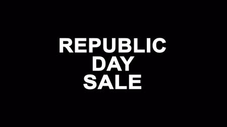 üç renkli : Republic Day Sale Glitch Text Abstract Vintage Twitched 4K Loop Motion Animation . Black Old Retro Digital TV Glitch Effect Including Twitch, Noise, VHS, Distortion.