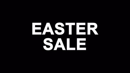nyuszi : Easter Sale Glitch Text Abstract Vintage Twitched 4K Loop Motion Animation . Black Old Retro Digital TV Glitch Effect Including Twitch, Noise, VHS, Distortion. Stock mozgókép