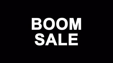 comics pop : Boom Sale Glitch Text Abstract Vintage Twitched 4K Loop Motion Animation . Black Old Retro Digital TV Glitch Effect Including Twitch, Noise, VHS, Distortion.