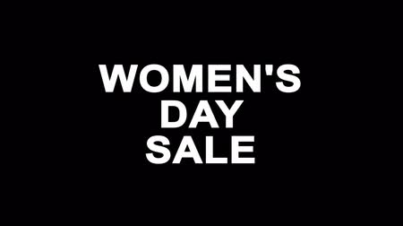zaproszenie ślubne : Womens Day Sale Glitch Text Abstract Vintage Twitched 4K Loop Motion Animation . Black Old Retro Digital TV Glitch Effect Including Twitch, Noise, VHS, Distortion. Wideo