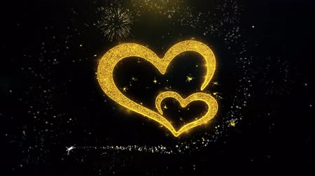 慶典 : Valentines day love heart Written Gold Glitter Particles Spark Exploding Fireworks Display 4K . Greeting card, Celebration, Party Invitation, calendar, Gift, Events, Message, Holiday, Wishes Festival
