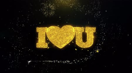 i love you : I Heart Love You Written Gold Glitter Particles Spark Exploding Fireworks Display 4K . Greeting card, Celebration, Party Invitation, calendar, Gift, Events, Message, Holiday, Wishes Festival Stock Footage