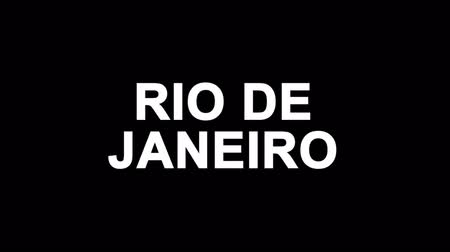 бразильский : RIO DE JANEIRO Glitch Text Abstract Vintage Twitched 4K Loop Motion Animation . Black Old Retro Digital TV Glitch Effect Including Twitch, Noise, VHS, Distortion.