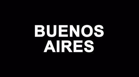 turné : BUENOS AIRES Glitch Text Abstract Vintage Twitched 4K Loop Motion Animation . Black Old Retro Digital TV Glitch Effect Including Twitch, Noise, VHS, Distortion.