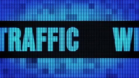 on site research : Web Traffic Front Text Scrolling on Light Blue Digital LED Display Board Pixel Light Screen Looped Animation 4K Background. Sign Board , Blinking Light, Pixel Monitor, LED Wall Pannel Stock Footage