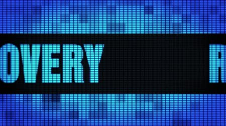 addiction recovery : Recovery Front Text Scrolling on Light Blue Digital LED Display Board Pixel Light Screen Looped Animation 4K Background. Sign Board , Blinking Light, Pixel Monitor, LED Wall Pannel
