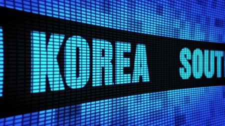 gyeongbokgung : South Korea Side Text Scrolling on Light Blue Digital LED Display Board Pixel Light Screen Looped Animation 4K Background. Sign Board , Blinking Light, Pixel Monitor, LED Wall Pannel Stock Footage