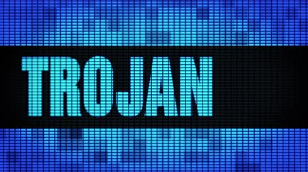 mascot : Trojan Front Text Scrolling on Light Blue Digital LED Display Board Pixel Light Screen Looped Animation 4K Background. Sign Board , Blinking Light, Pixel Monitor, LED Wall Pannel Stock Footage