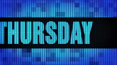 quinta feira : Thursday Front Text Scrolling on Light Blue Digital LED Display Board Pixel Light Screen Looped Animation 4K Background. Sign Board , Blinking Light, Pixel Monitor, LED Wall Pannel