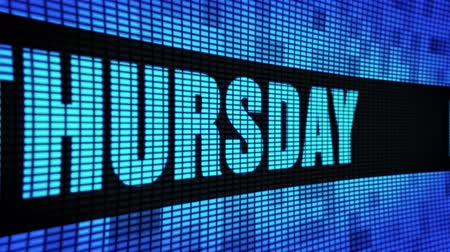 week end : Thursday Side Text Scrolling on Light Blue Digital LED Display Board Pixel Light Screen Looped Animation 4K Background. Sign Board , Blinking Light, Pixel Monitor, LED Wall Pannel