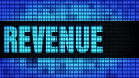 lucros : Revenue Front Text Scrolling on Light Blue Digital LED Display Board Pixel Light Screen Looped Animation 4K Background. Sign Board , Blinking Light, Pixel Monitor, LED Wall Pannel Stock Footage