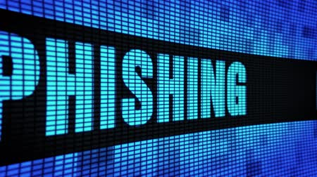 senha : Phishing Side Text Scrolling on Light Blue Digital LED Display Board Pixel Light Screen Looped Animation 4K Background. Sign Board , Blinking Light, Pixel Monitor, LED Wall Pannel