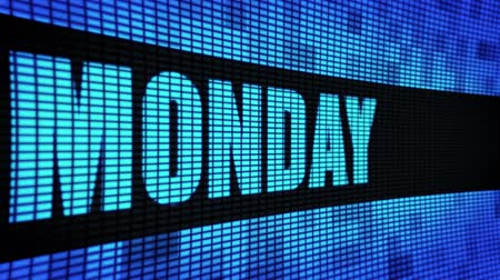 segunda feira : Monday Side Text Scrolling on Light Blue Digital LED Display Board Pixel Light Screen Looped Animation 4K Background. Sign Board , Blinking Light, Pixel Monitor, LED Wall Pannel