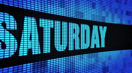 tipo baskı : Saturday Side Text Scrolling on Light Blue Digital LED Display Board Pixel Light Screen Looped Animation 4K Background. Sign Board , Blinking Light, Pixel Monitor, LED Wall Pannel Stok Video