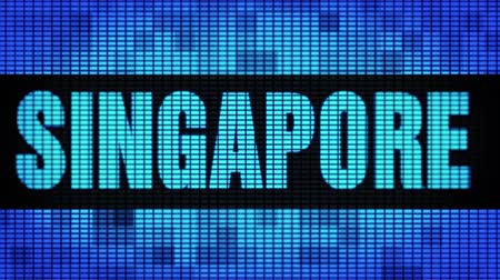 metropoli : SINGAPORE Front Text Scrolling on Light Blue LED Display Board Pixel Light Screen Looped Animation 4K Background. Cartello, luce lampeggiante, monitor Pixel. Pannello LED da parete