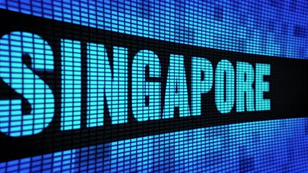 night singapore : SINGAPORE Side Text Scrolling on Light Blue Digital LED Display Board Pixel Light Screen Looped Animation 4K Background. Sign Board , Blinking Light, Pixel Monitor . LED Wall Pannel