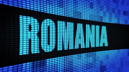 transilvânia : ROMANIA side Text Scrolling on Light Blue Digital LED Display Board Pixel Light Screen Looped Animation 4K Background. Sign Board , Blinking Light, Pixel Monitor . LED Wall Pannel