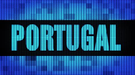 iberian : PORTUGAL Front Text Scrolling on Light Blue Digital LED Display Board Pixel Light Screen Looped Animation 4K Background. Sign Board , Blinking Light, Pixel Monitor . LED Wall Pannel