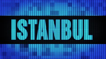 isztambul : ISTANBUL Front Text Scrolling on Light Blue Digital LED Display Board Pixel Light Screen Looped Animation 4K Background. Sign Board , Blinking Light, Pixel Monitor . LED Wall Pannel Stock mozgókép
