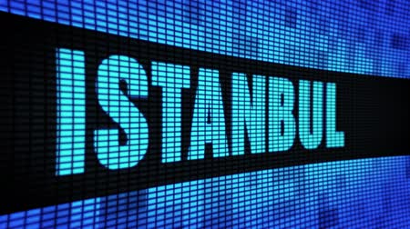 isztambul : ISTANBUL side Text Scrolling on Light Blue Digital LED Display Board Pixel Light Screen Looped Animation 4K Background. Sign Board , Blinking Light, Pixel Monitor . LED Wall Pannel